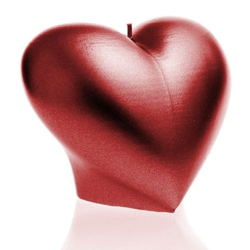 CANDLE HEART SMOOTH Red Metallic